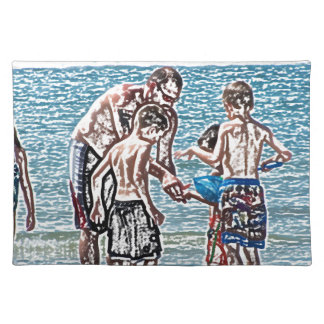man with kids on beach sketch place mats