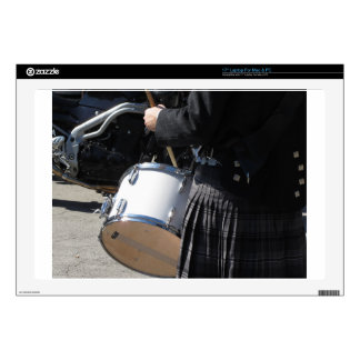"""Man with kilt playing on drums decals for 17"""" laptops"""