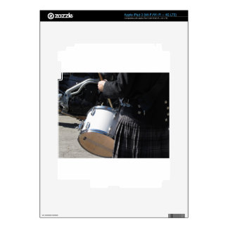 Man with kilt playing on drums iPad 3 skin