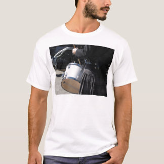 Man with kilt playing on drums T-Shirt