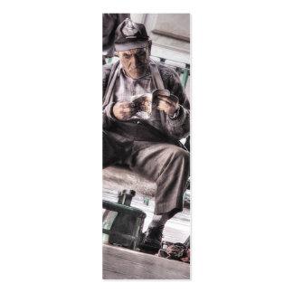 Man with magazine Bookmark Mini Business Card
