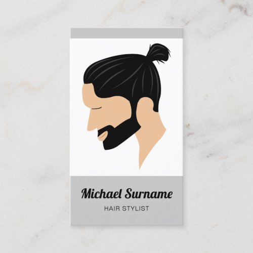 Man With Man Bun  Beard Illustration Hair Stylist Business Card