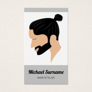 Man With Man Bun & Beard Illustration Hair Stylist Business Card