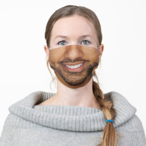 Man with Mustache and Beard White Teeth Funny Cloth Face Mask