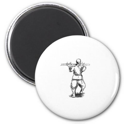 Man With Nunchaku 2 Inch Round Magnet