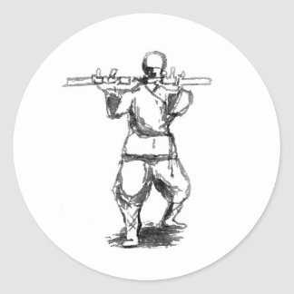 Man With Nunchaku Classic Round Sticker