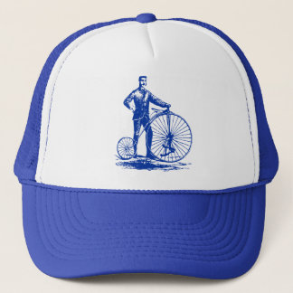 Man with Penny Farthing - Navy Blue Trucker Hat