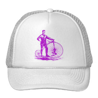 Man with Penny Farthing - Purple Trucker Hat