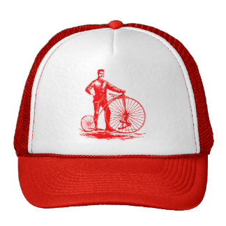 Man with Penny Farthing - Red Trucker Hat