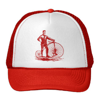 Man with Penny Farthing - Ruby Red Trucker Hat