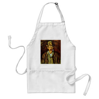 Man With Pipe By Paul Cézanne (Best Quality) Adult Apron