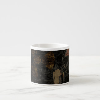 Man with protective mask on dark metal plate espresso cup