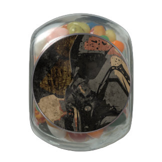 Man with protective mask on dark metal plate glass candy jars