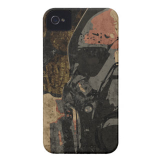 Man with protective mask on dark metal plate iPhone 4 case