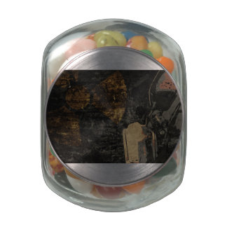 Man with protective mask on dark metal plate jelly belly candy jar