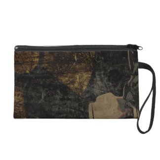 Man with protective mask on dark metal plate wristlet purse