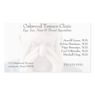man with sinus pain business card