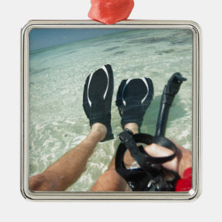 Man with snorkeling equipment metal ornament