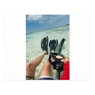Man with snorkeling equipment post card