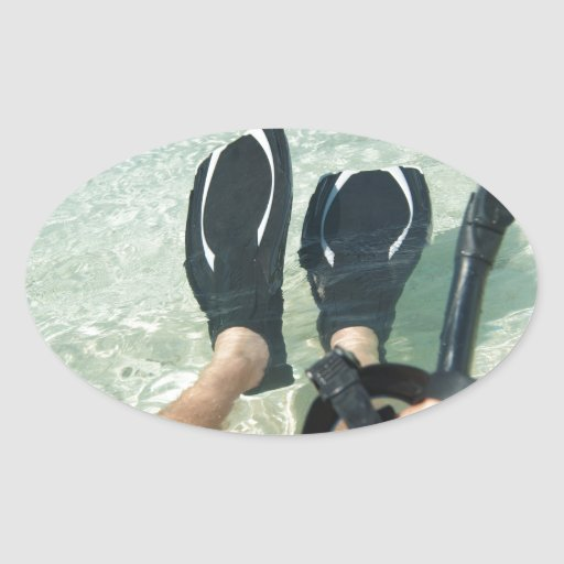 Man with snorkeling equipment oval sticker