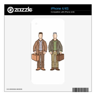 Man with suitcase vector skins for iPhone 4