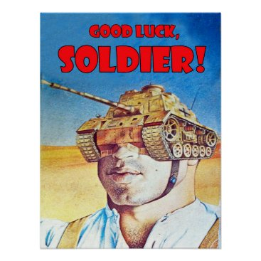 Man with tank on his head, vintage fantasy poster