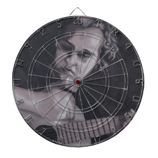 Man with the guitar dartboard