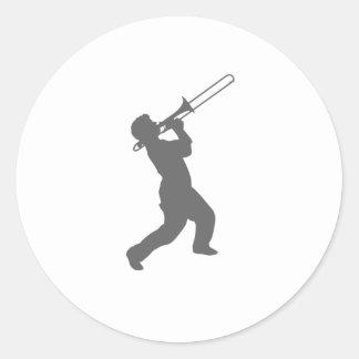 man with trombone classic round sticker