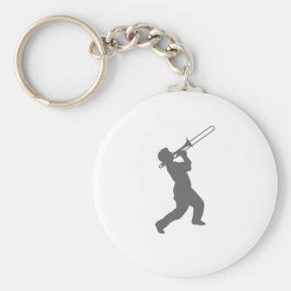 man with trombone keychain