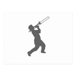 man with trombone postcard