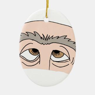Man with unibrow ceramic ornament
