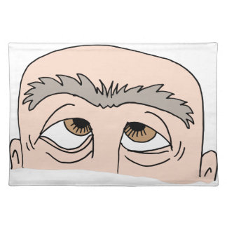 Man with unibrow cloth placemat