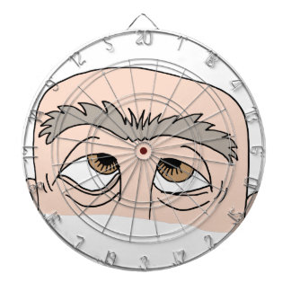 Man with unibrow dart boards
