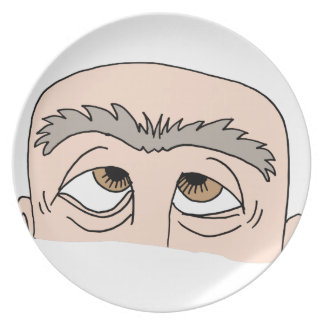 Man with unibrow melamine plate