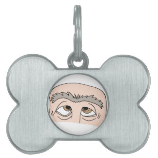 Man with unibrow pet name tag