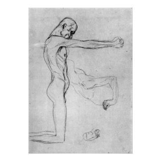 Man with with outstretched arms by Gustav Klimt Print