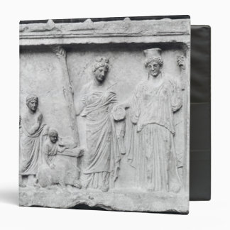 Man, woman and child before an altar 3 ring binder