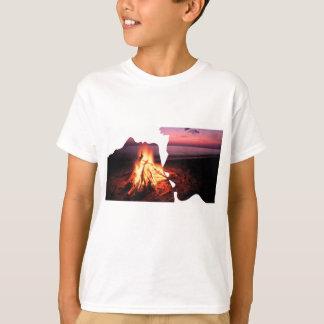 Man Woman Fire Beach SIlhouette T-Shirt