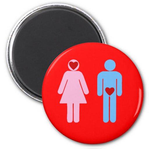 Man Woman Love Humor Tshirt 2 Inch Round Magnet