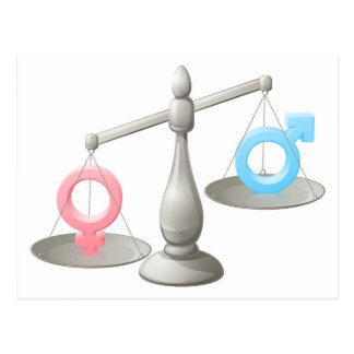 Man woman scales concept postcard