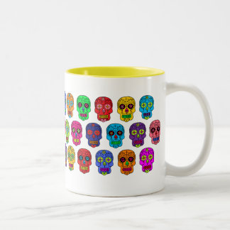 Man & Woman Sugar Skulls Two-Tone Coffee Mug