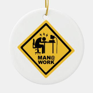 Man @ Work Ceramic Ornament