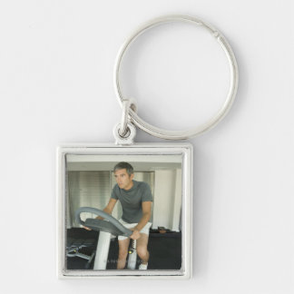Man working out in a gym 2 keychain