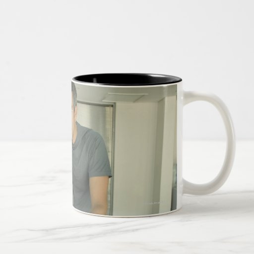 Man working out in a gym 2 Two-Tone coffee mug