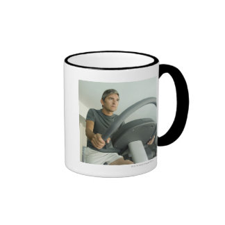 Man working out in a gym ringer coffee mug