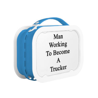 Man Working To Become A Trucker Replacement Plate