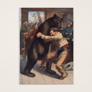 Man Wrestles Bear - Vintage Litho Appointment Card