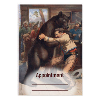 Man Wrestles Bear - Vintage Litho Appointment Card Large Business Cards (Pack Of 100)