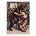 Man Wrestles Bear - Vintage Lithograph Large Business Card