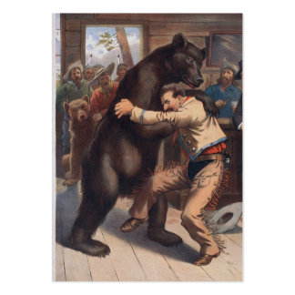 Man Wrestles Bear - Vintage Lithograph Large Business Card